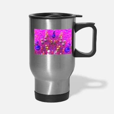Atom Abstract 3D Computer Art - Colored Reflective Orbs - Travel Mug