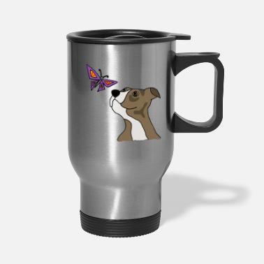 Cool Funny Grey Pitbull Puppy Dog and Butterfly - Travel Mug