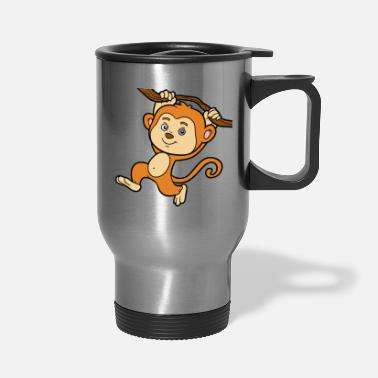Primate Monkey animal primate wildlife vector funny image - Travel Mug