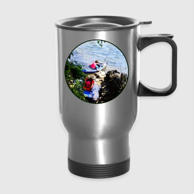 Father and Son Launching Kayaks - Travel Mug