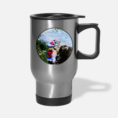 Son Father and Son Launching Kayaks - Travel Mug