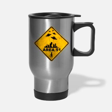 Area 51 AREA 51 yellow warning road sign with UFOs. - Travel Mug