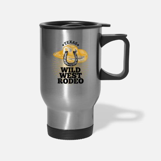 Wild Mugs & Drinkware - texas wild west F - Travel Mug silver