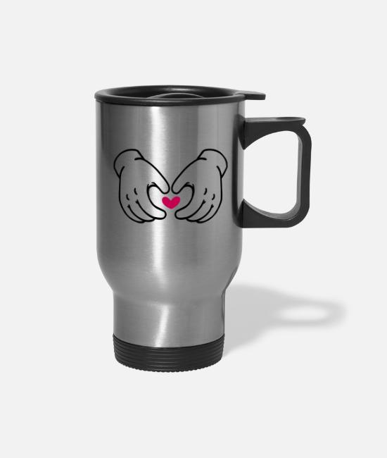 Line Mugs & Cups - Hand Heart - Travel Mug silver