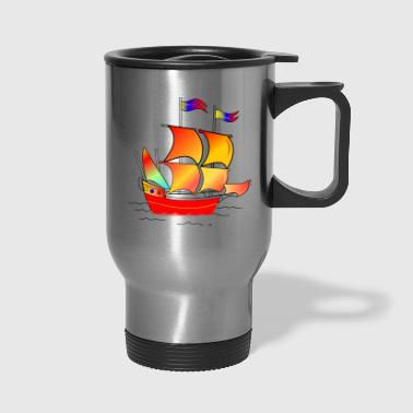 pirate ship boat pirat piratenschiff schiff skull8 - Travel Mug