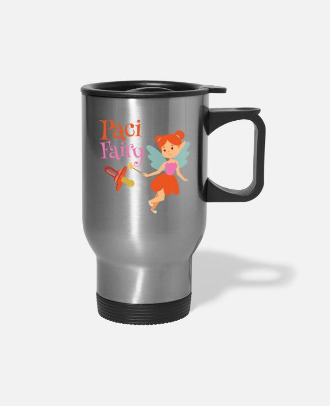 Fairy Tale Figure Mugs & Cups - Paci Fairy: Cute Pacifier Fairy Shirt for Girls - Travel Mug silver