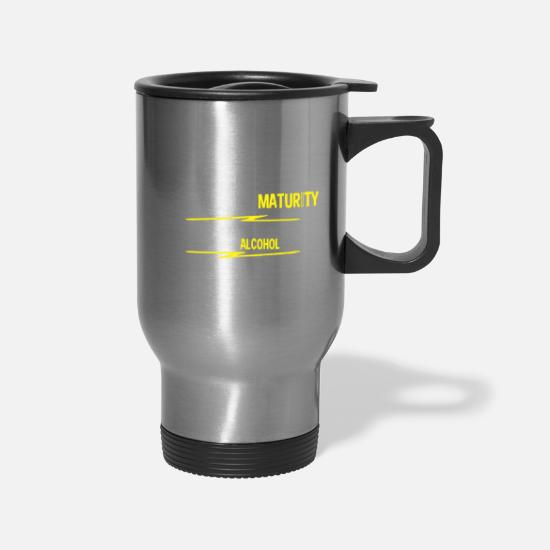 Mature Mugs & Drinkware - MATURITY ALCOHOL - Travel Mug silver