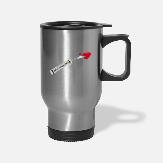 Dagger Mugs & Drinkware - WHITE SWORD - Travel Mug silver
