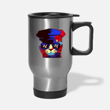 Caterpillar Police Cat Hat Cat In Sunglasses - Travel Mug