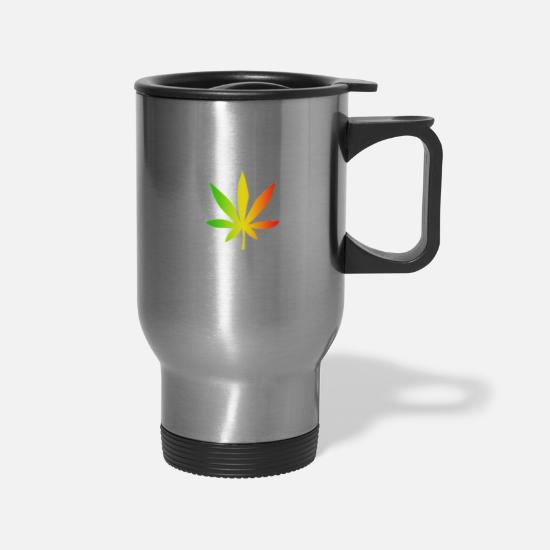 Rasta Mugs & Drinkware - GANJA LEAF - Travel Mug silver