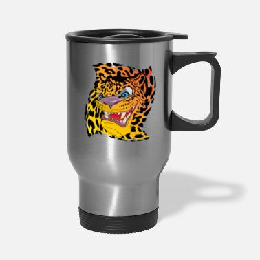 Leopard Leopard with a leopard background - Travel Mug