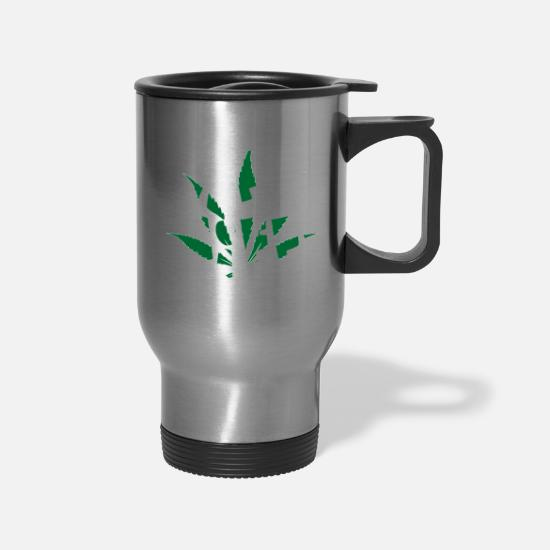 Birthday Mugs & Drinkware - Kiffi Miffi Ganja Dope Smoking - Travel Mug silver