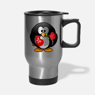 Rose Cute Valentine Love Penguin Cartoon - Travel Mug