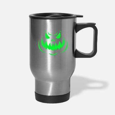 b69d701bc1c Scary Scary Face Halloween Dark Green Glow - Travel Mug