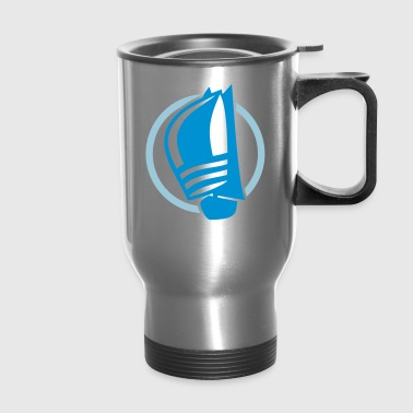 Sailing logo with sailing boat - Travel Mug