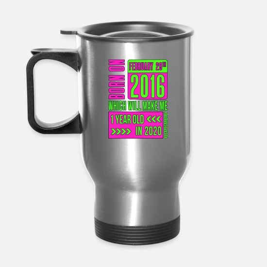 Birthday Mugs & Drinkware - 1 year old PINK - Travel Mug silver