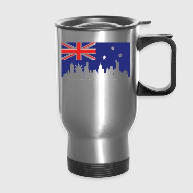 Australian Flag Melbourne Skyline - Travel Mug