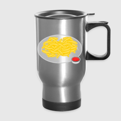french fries pommes frites ketchup fast food fritt - Travel Mug