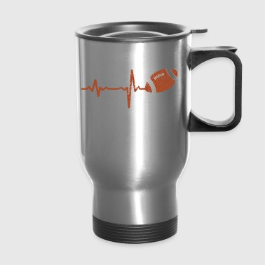 gift heartbeat american football rugby - Travel Mug