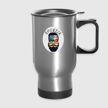 America Patriotic Beard Sunglasses Flag - Travel Mug