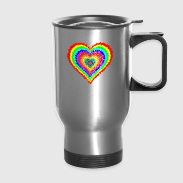 tie dye heart - Travel Mug