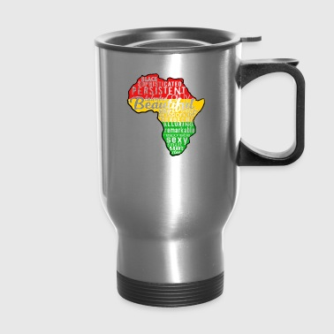 Melanin Africa Outline Black - Travel Mug