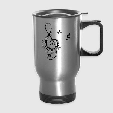 Clef with piano keys and music notes - Travel Mug