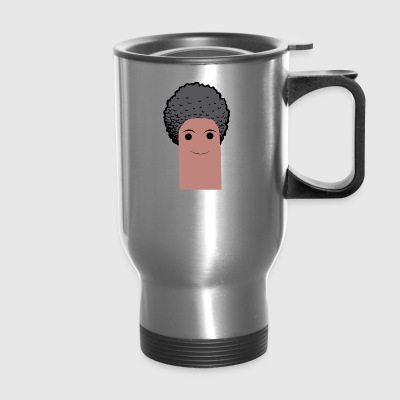 afro finger with beard - Travel Mug