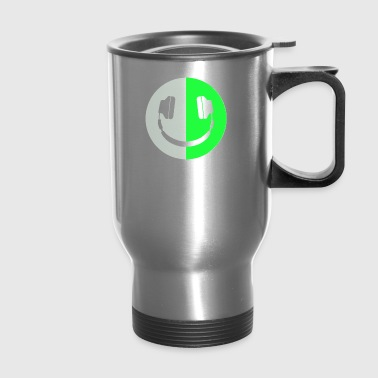 Glow In The Dark Headphone Smiley - Travel Mug