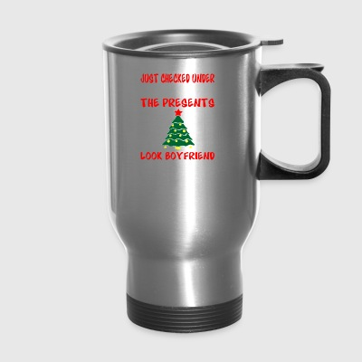 Checked Under Christmas Tree Presents Look Boyfrie - Travel Mug