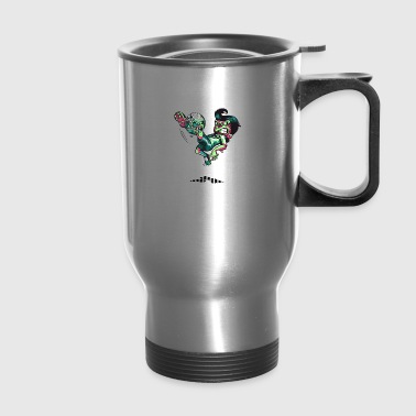 soccer ball biting soccer players leg - Travel Mug