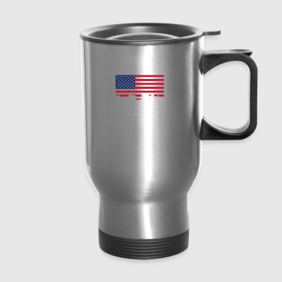 Flint Michigan Skyline American Flag - Travel Mug