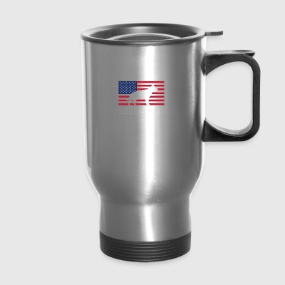 German Shepherd American Flag - Travel Mug