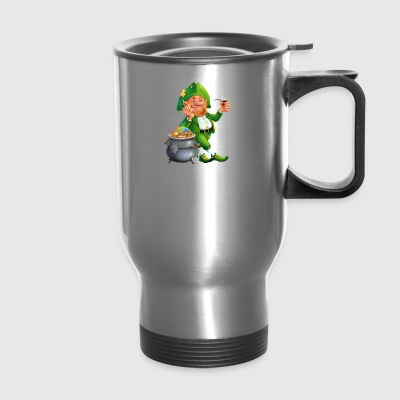 Feast of Saint Patrick Leprechaun pot gold coins - Travel Mug