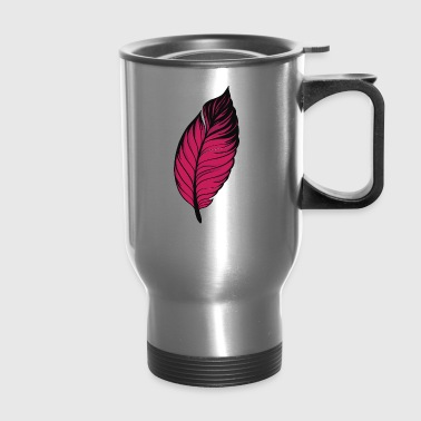 pen feather leave - Travel Mug