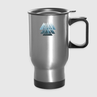 Sacred Geometry Triangles Misty Forest - Travel Mug