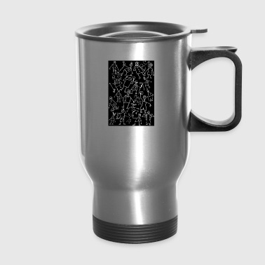 white scribbled figures on black - Travel Mug