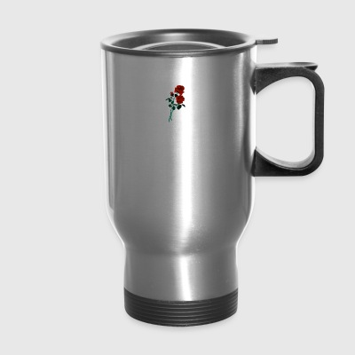 Red rose in stem - Travel Mug