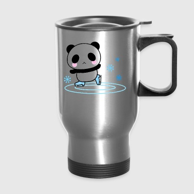 Panda Ice Skate Long Sleeve Cute Blush Face Happy - Travel Mug