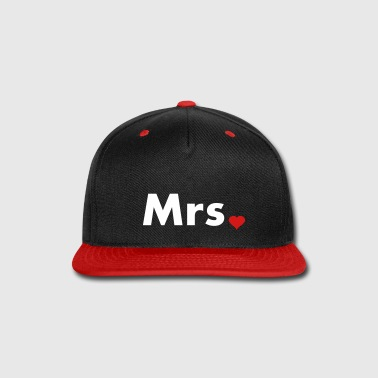 Mrs with heart dot - part of Mr and Mrs set - Snap-back Baseball Cap