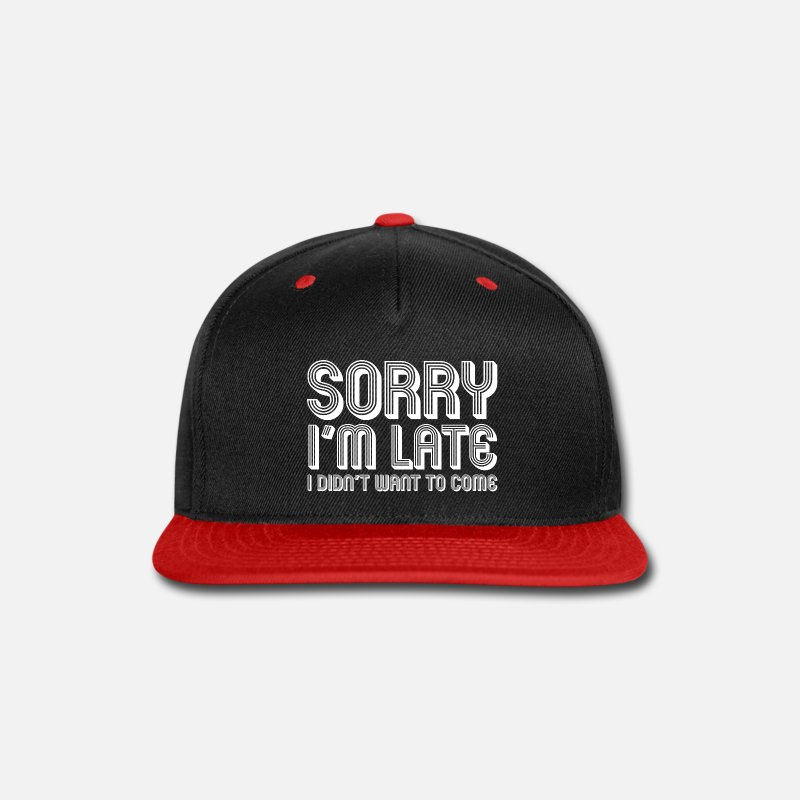 67ac4401da79d Funny Caps - Funny Thanksgiving - Sorry I m Late - Meal Humor - Snapback