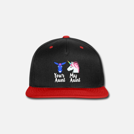 Family Caps - Funny Aunt - Your My Family - Sister Kin Humor - Snapback Cap black/red