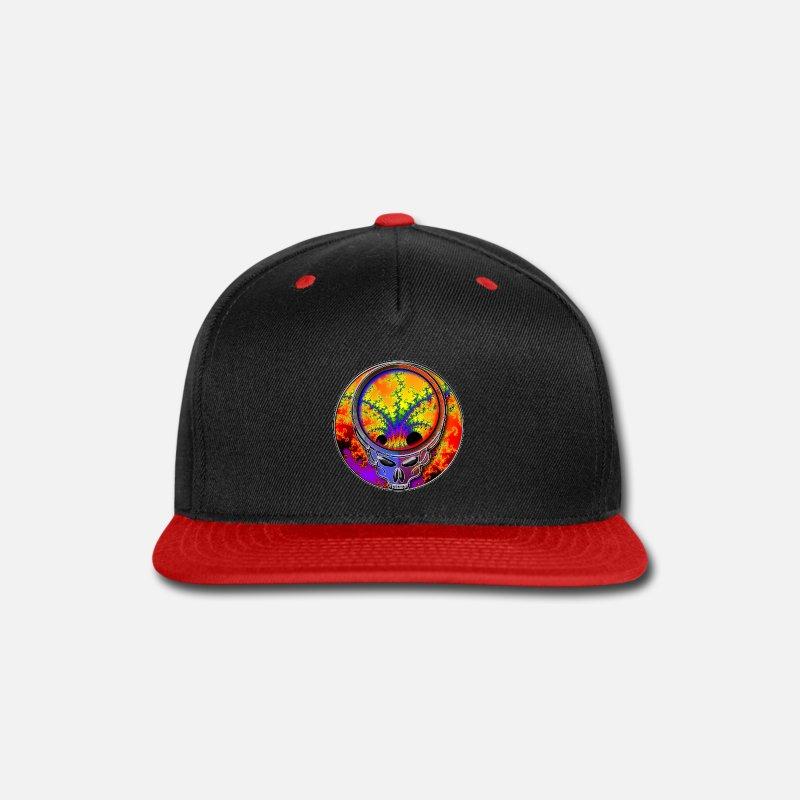 Mathematics Caps - Cool Cosmic Fractal in Grateful Dead Style Skull -  Snapback Cap black  c8eac1f53fdd