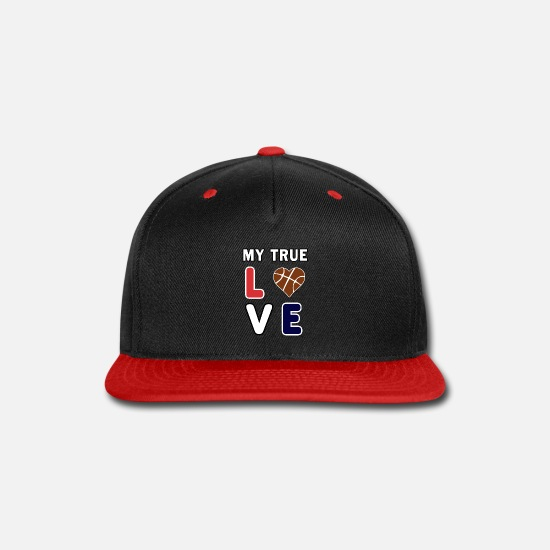 Flag Caps - Basketball My True Love kids Coach Team Lover Gift - Snapback Cap black/red