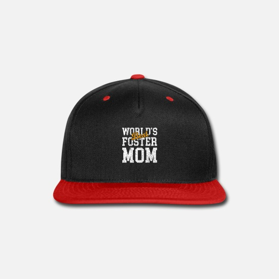 Birthday Caps - Worlds Best Foster Mom from Son Daughter - Snapback Cap black/red