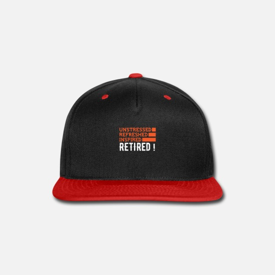 Funny Caps - Unstressed Refreshed Inspired Retired - Snapback Cap black/red