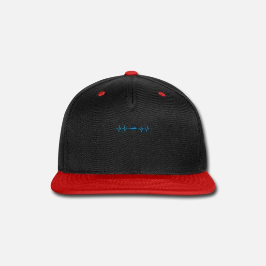 Funny Caps - Swimming Heartbeat Gift - Snapback Cap black/red