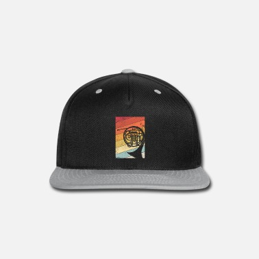 Up French Horn Graphic. Retro Style Brass Band Design - Snapback Cap
