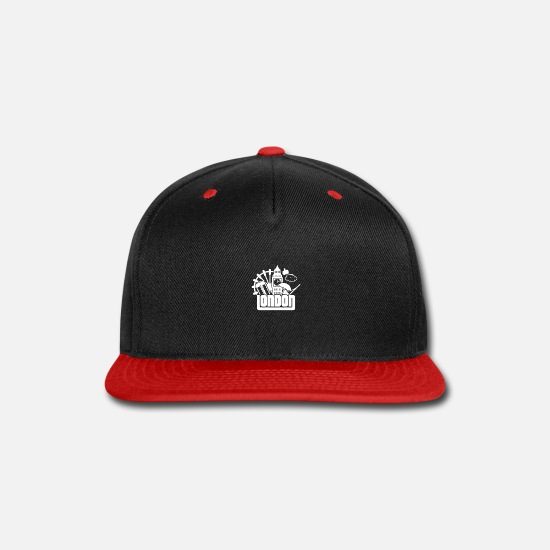 Big Ben Caps - London with symbols behind 01 - Snapback Cap black/red