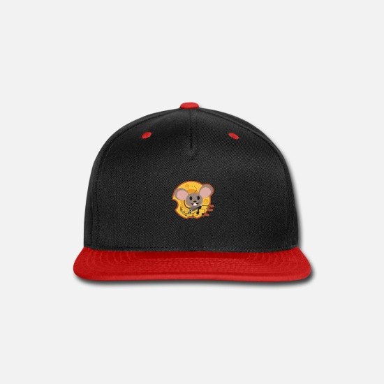 Cheesehead Caps - Cheese Mouse and Cheese Funny Gift Idea - Snapback Cap black/red